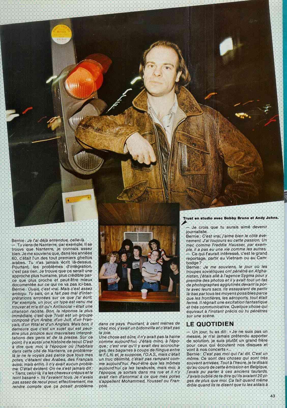 Interview de BERNIE BONVOISIN dans le BEST de mai 1983. (Archive) Scan0025