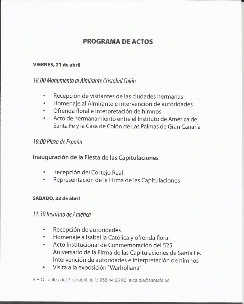 PROGRAMA DE ACTOS CAPITULACIONES DE SANTA FE ABRIL 2017 Progra11