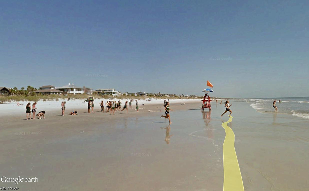 STREET VIEW : course de relais sur la plage d'Atlantic Beach en Floride Relais17