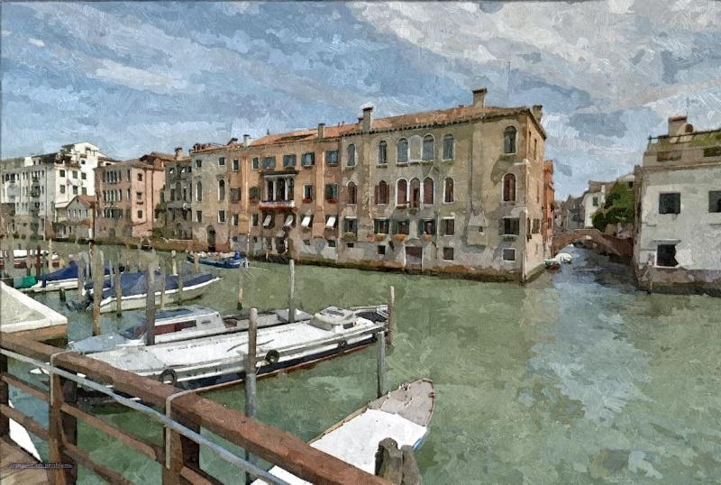 STREET VIEW en version pinceaux, fusain et crayons Venise16