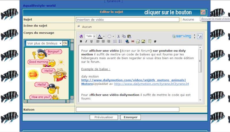 Insertion de vidéo sur le forum Editio10