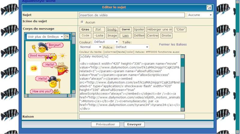 Insertion de vidéo sur le forum Editio12