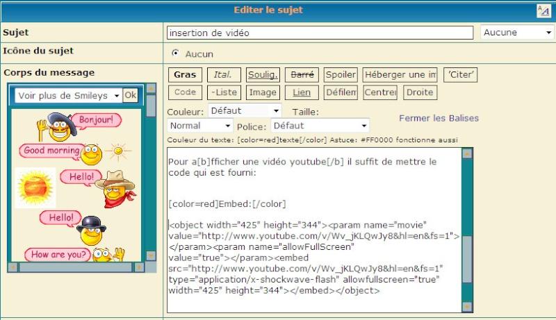 Insertion de vidéo sur le forum Editio14
