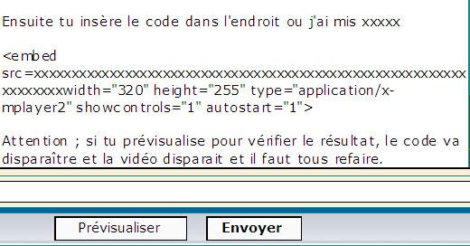 Insertion de vidéo sur le forum Editio15