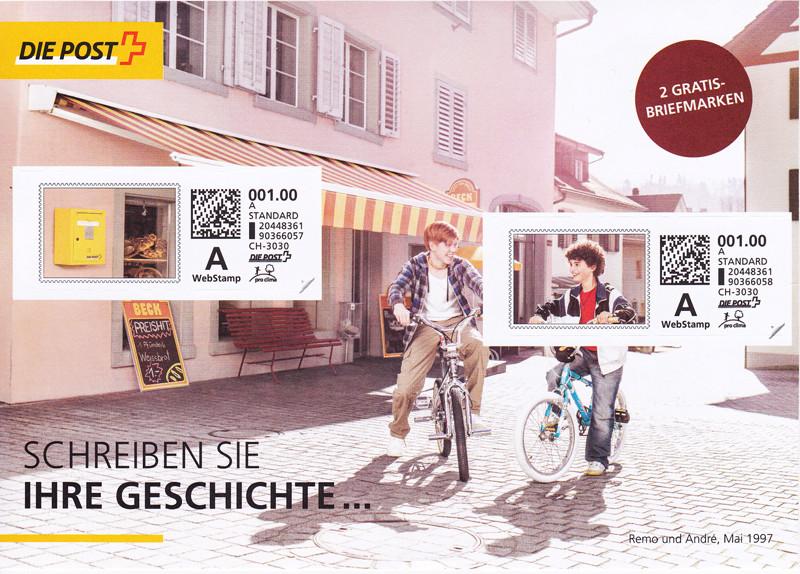 Schweiz – Gratis- «WebStamp»-Briefmarken an alle Haushalte Post10
