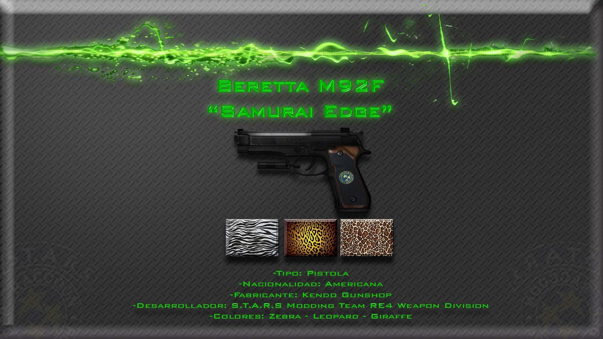 Beretta M92F Samurai Edge HD con Cammos intercambiables Render11