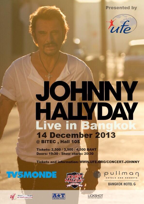 Johnny sera en concert à Bangkok le Samedi 14 décembre 2013.  By40xz10