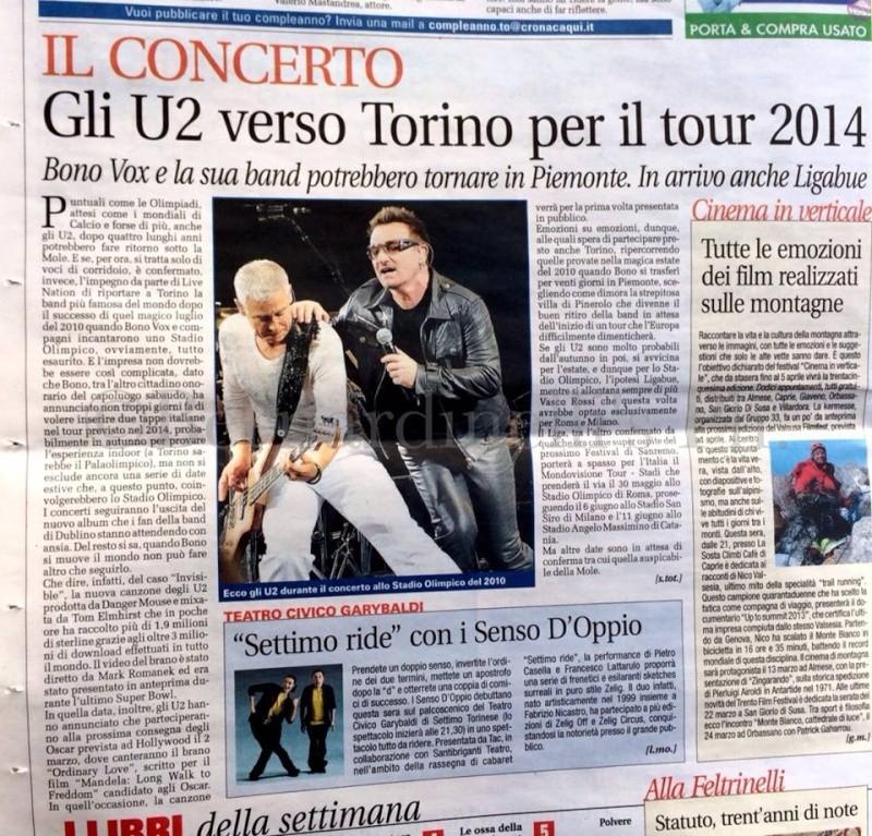 Rumor: concerto U2 a TORINO nel 2014? U220