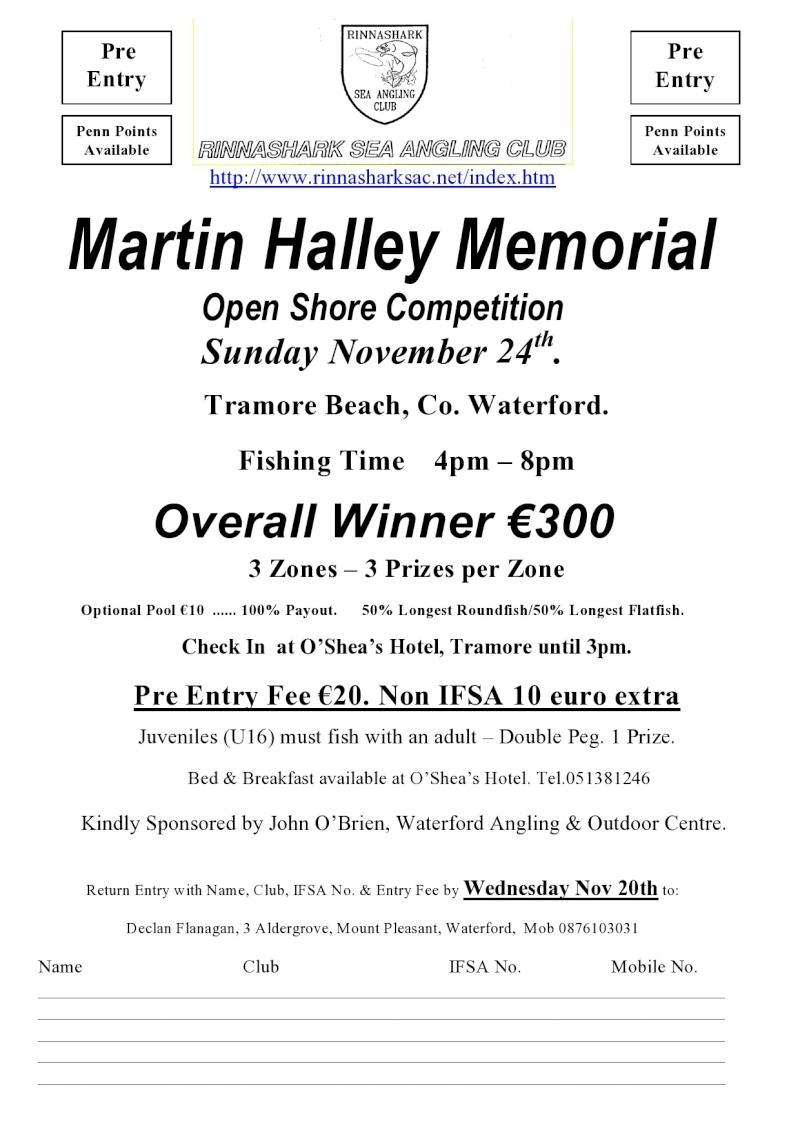 Martin Halley Memorial         Open Shore Competition Sunday November 24th. Martin10