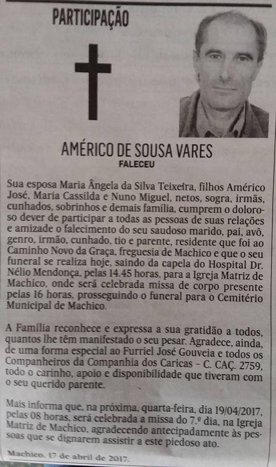 Faleceu o veterano Américo de Sousa Vares, da CCac2759 - 13Abr2017 Amyric13
