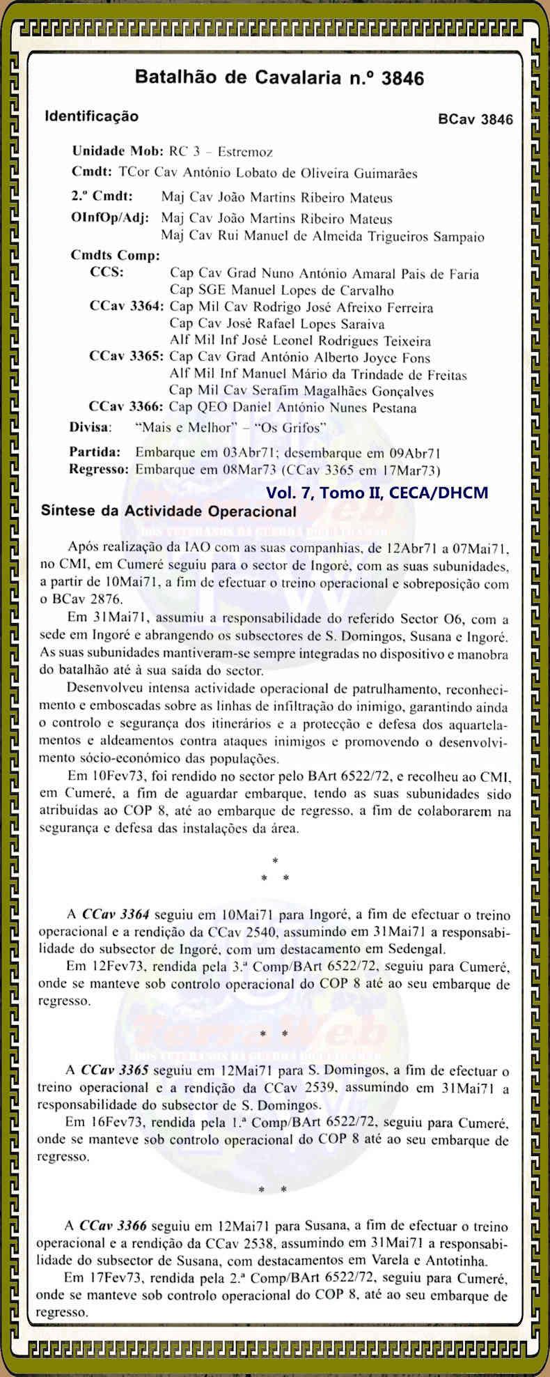 Faleceu o veterano Rogério António Mendonça Serpa, Furriel Mil.º, do BCav3846 - 29Mai2008 Bcav3810