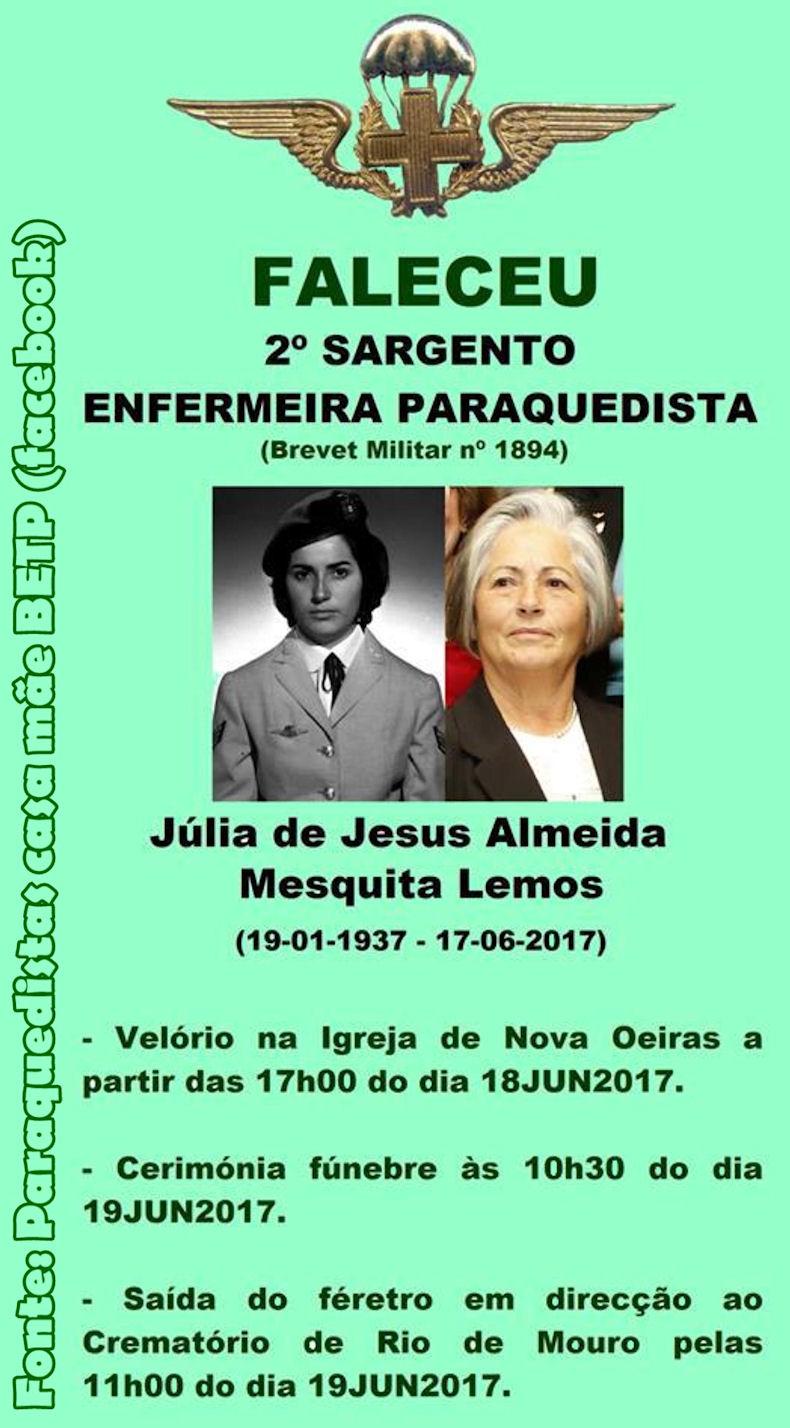 Faleceu a veterana Júlia de Jesus Almeida Mesquita Lemos, 2.º Sargento Enfermeira PQ - 17Jun2017 Nota_d10