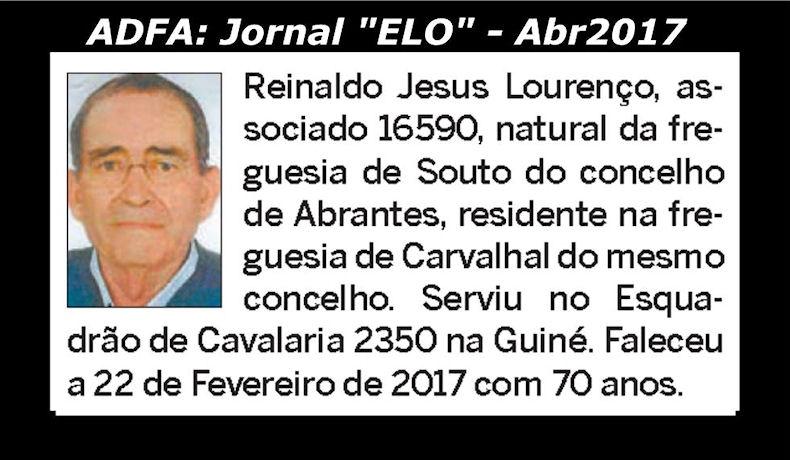 Notas de óbito publicadas no jornal «ELO», da ADFA, de Abril de 2017 Reinal10