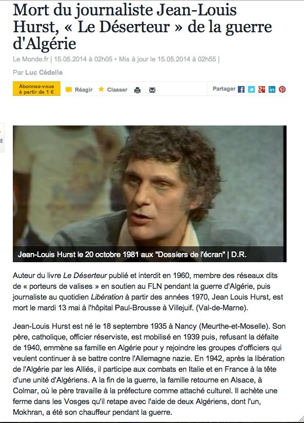 """Hurst - Une disparition que nous ne pleurerons pas: mort du journaliste jean-louis hurst """"Le déserteur"""" de la guerre d'Algérie Clich169"""