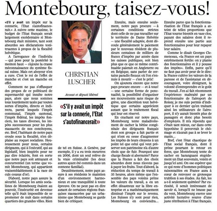 Montebourg a le bonjour de la Suisse. Monteb11