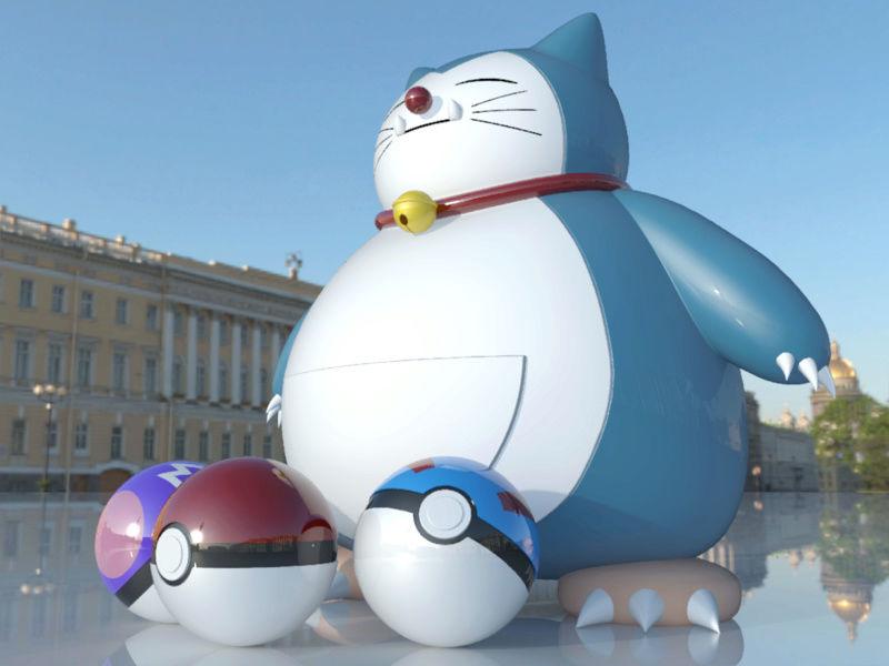 [作品]AutoCAD 3D Pokémon Go 卡比獸-進化了 Pokemo14