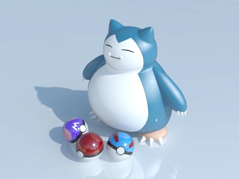 [作品]AutoCAD 3D Pokémon Go 卡比獸-進化了 Pokemo23