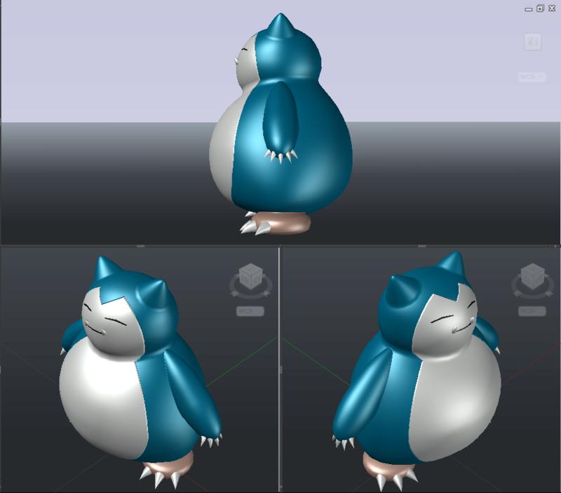 [作品]AutoCAD 3D Pokémon Go 卡比獸-進化了 Pokemo24