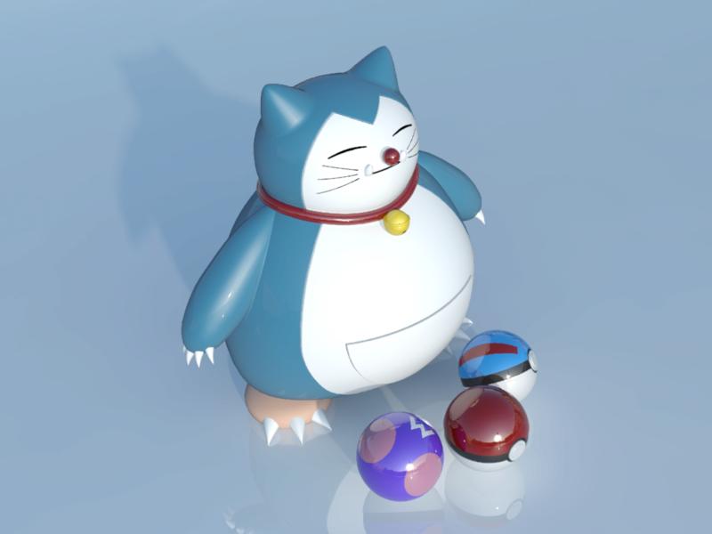[作品]AutoCAD 3D Pokémon Go 卡比獸-進化了 Pokemo28