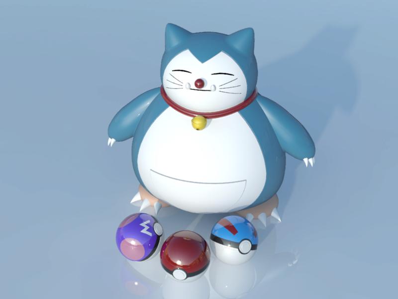 [作品]AutoCAD 3D Pokémon Go 卡比獸-進化了 Pokemo30