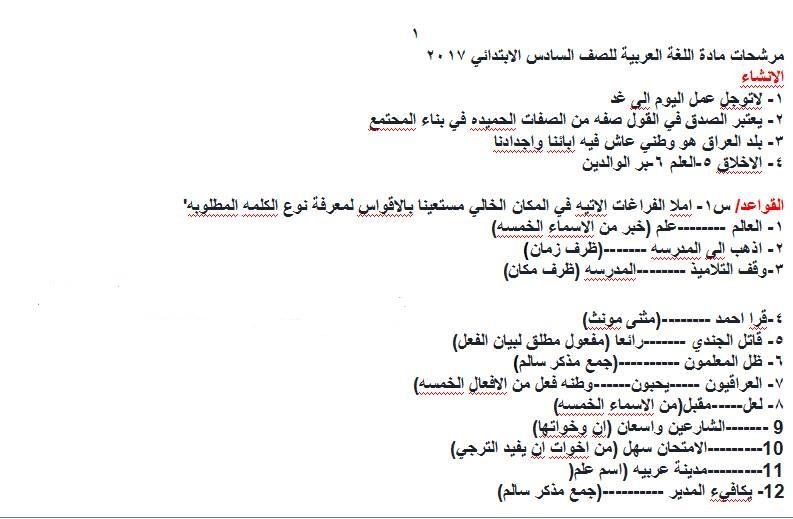 مرشحات لغة عربية للسادس الابتدائى 2018 111