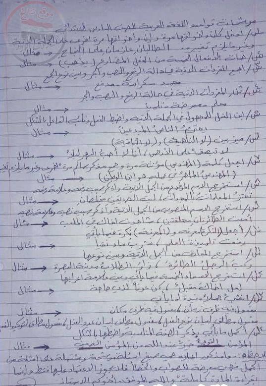 مرشحات وتوقعات قواعد اللغة العربية للسادس الابتدائى 2018 11111110