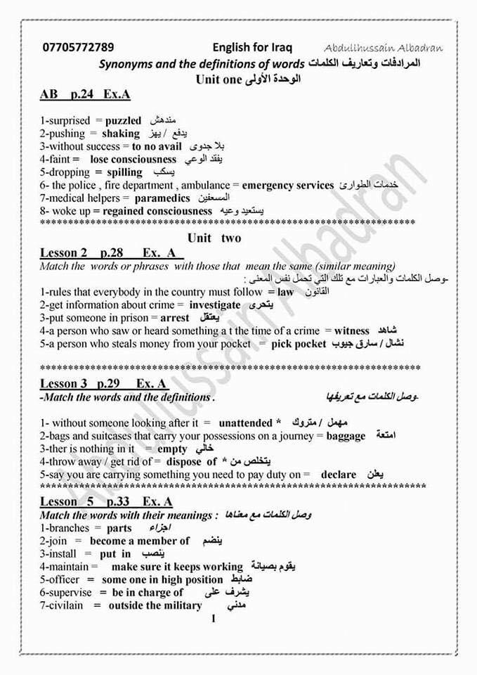 مرشحات انكليزى للسادس الاعدادي 2018 اعداد الاستاذ عبد الحسين البدران مرشحات 2018 1114