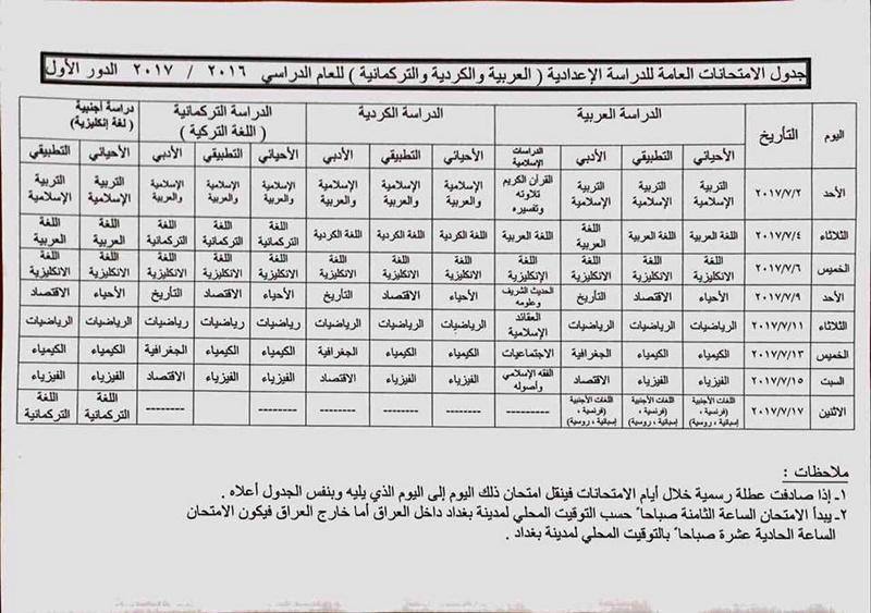 جدول الامتحانات النهائية للمراحل الدراسية كافة المنتهية وغير المنتهية العام الدراسي 2016 - 2017 1117