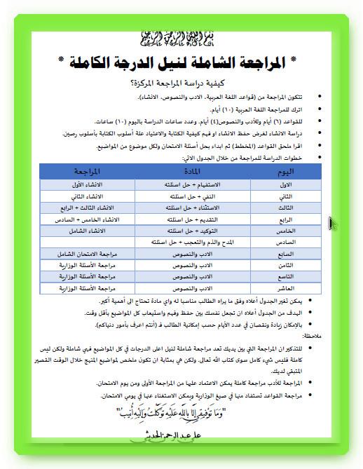 كيفية تراجع مادة اللغة العربية للسادس العلمي لنيل الدرجة الكاملة 2018 1125