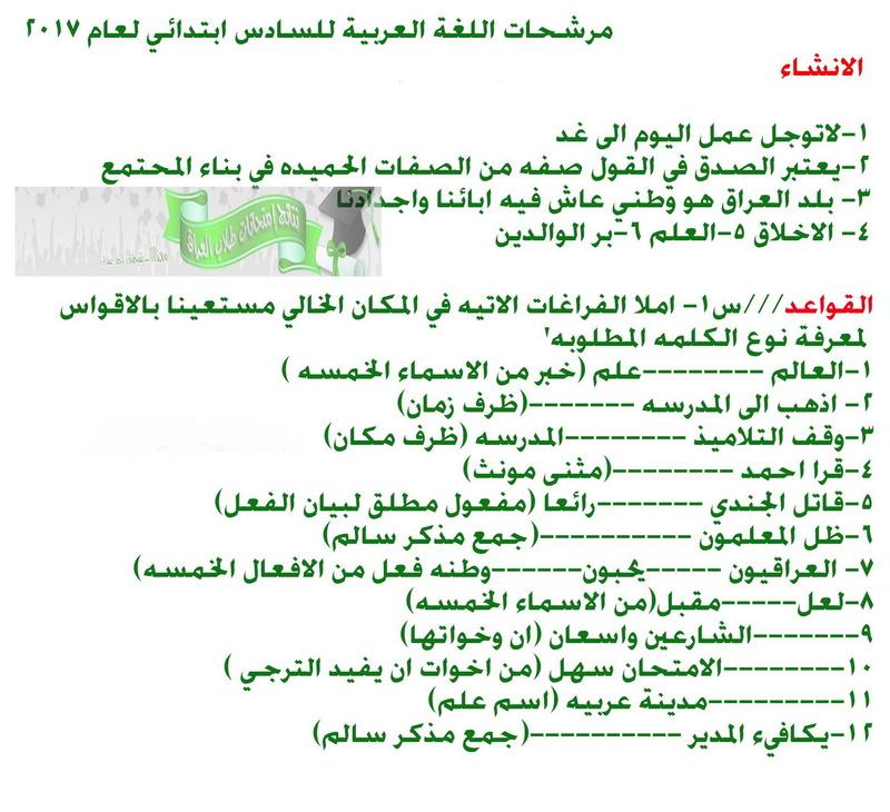 أحدث مرشحات اللغة العربية للصف السادس الابتدائى 2018 1150