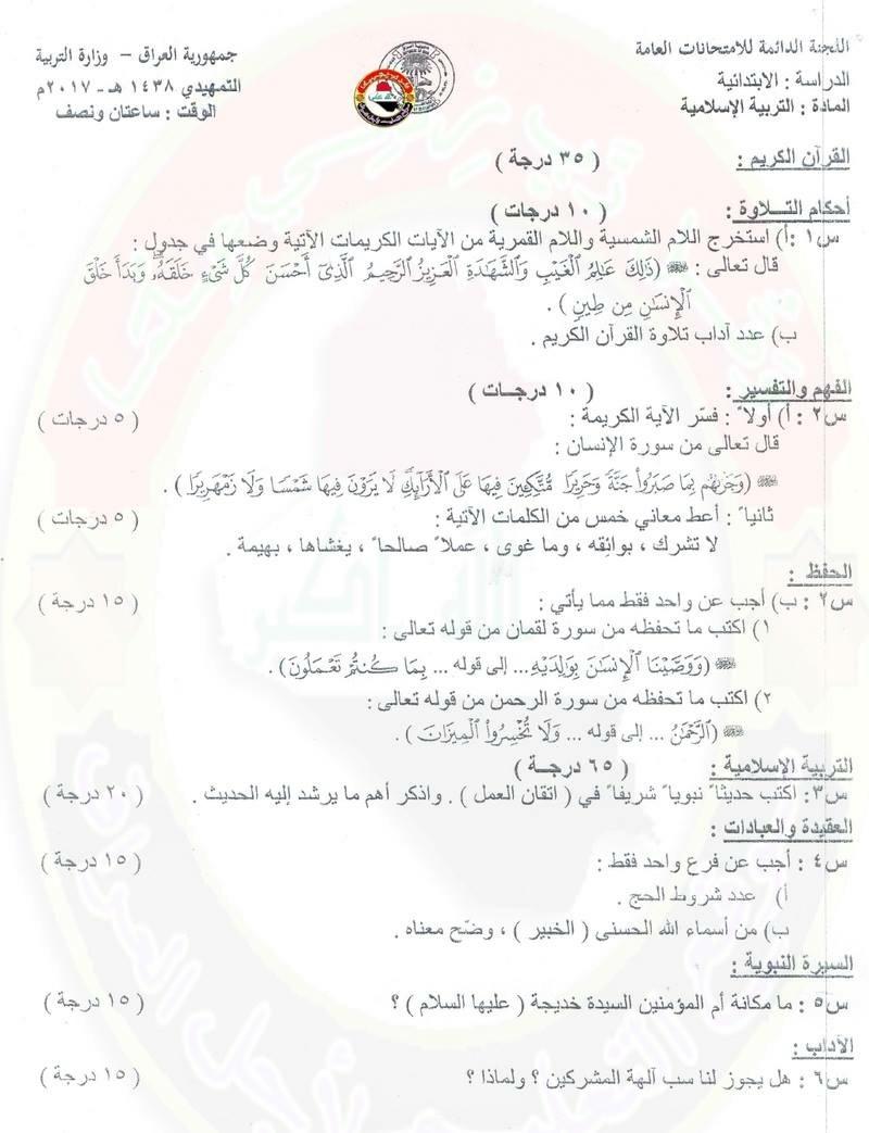 مرشحات وأسئلة التربية الاسلامية للسادس الابتدائى 2018 1163