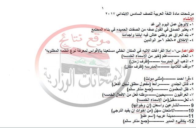 توقعات امتحان اللغة العربية للصف السادس الابتدائى الدور الأول 2019 1166