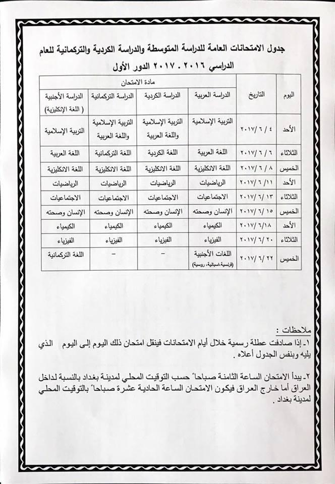 جدول الامتحانات النهائية للمراحل الدراسية كافة المنتهية وغير المنتهية العام الدراسي 2016 - 2017 1312