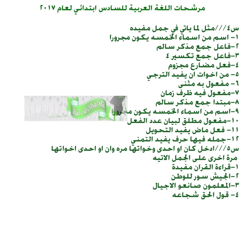 أحدث مرشحات اللغة العربية للصف السادس الابتدائى 2018 1329