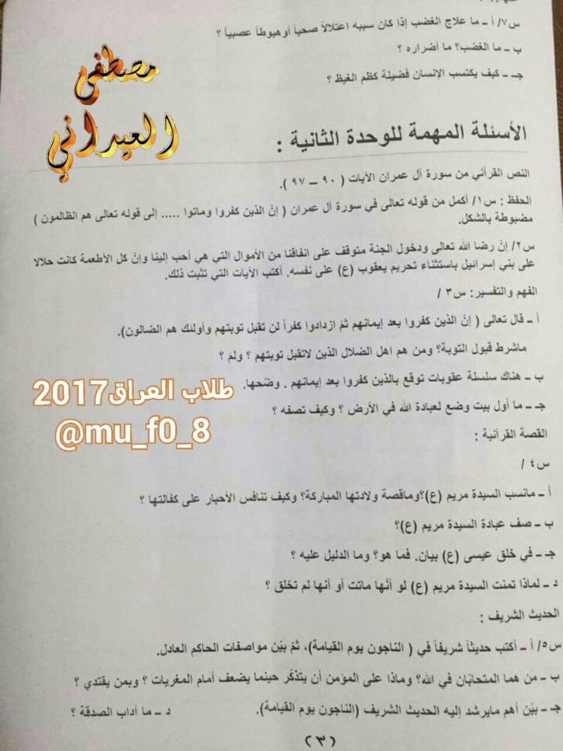 مرشحات التربية الاسلامية الشاملة للسادس الاعدادى 2017 1358