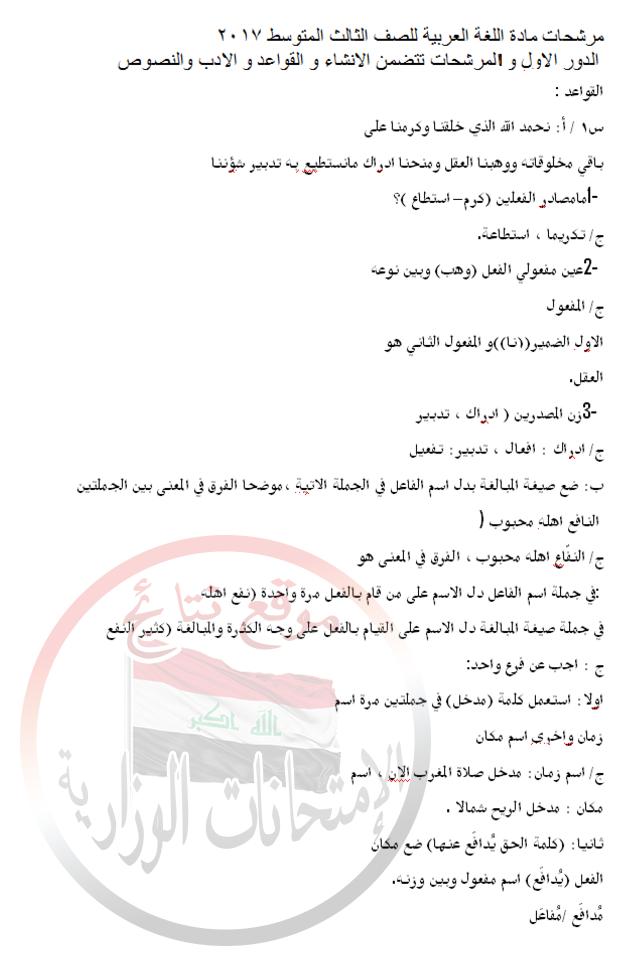 أخر مرشحات اللغة العربية للثالث المتوسط 2018 1413