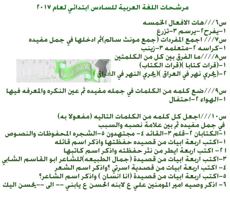 أحدث مرشحات اللغة العربية للصف السادس الابتدائى 2018 1427