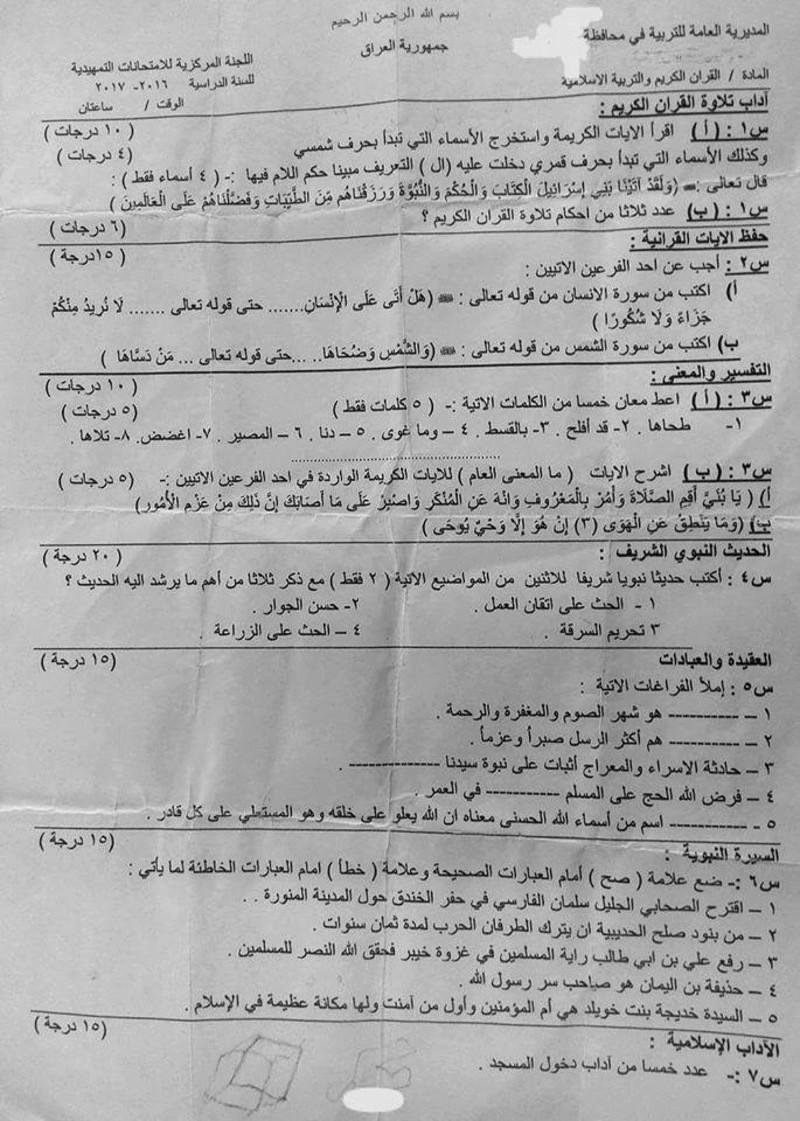 مرشحات وأسئلة الاسلامية للسادس الابتدائى 2019 1435