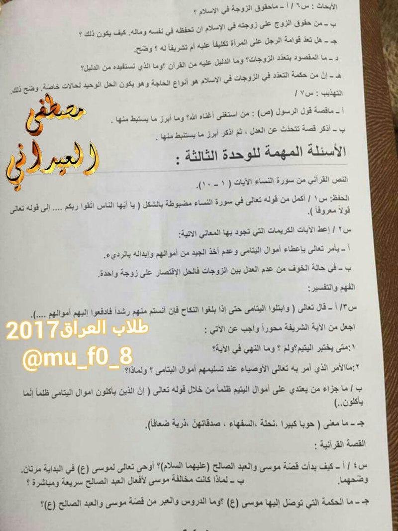 مرشحات التربية الاسلامية الشاملة للسادس الاعدادى 2017 1450