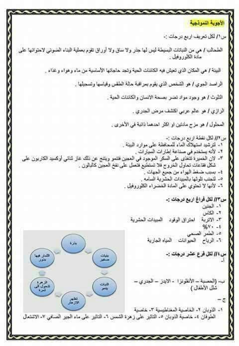 نماذج شاملة لأسئلة العلوم للصف السادس الابتدائي مع الاجوبة النموذجية  1531