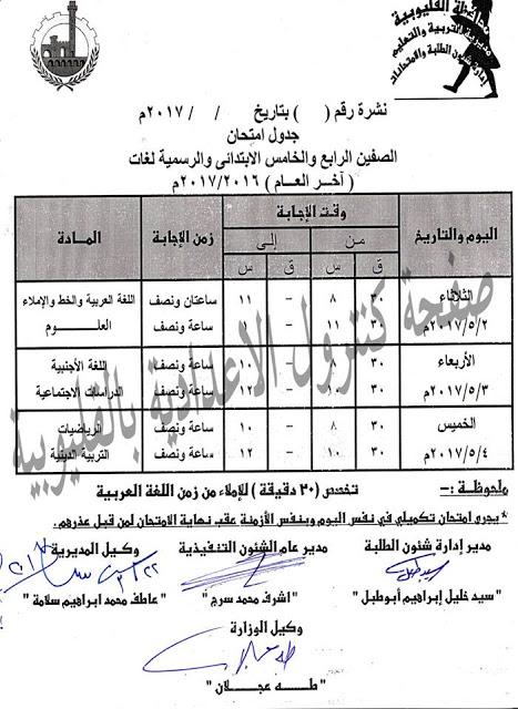 جدول امتحانات اخر العام 2017 للمرحلة الابتدائية من الصف الثانى الابتدائى الى الصف السادس الابتدائى بالقليوبية  1614