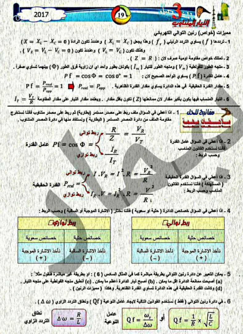 ملخص قوانين الفيزياء للسادس العلمى مرشحات 2018 1617