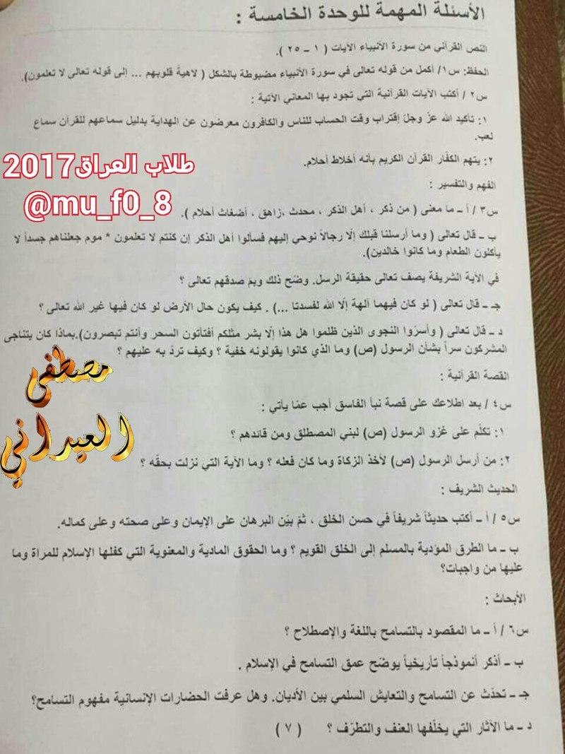 مرشحات التربية الاسلامية الشاملة للسادس الاعدادى 2017 1733