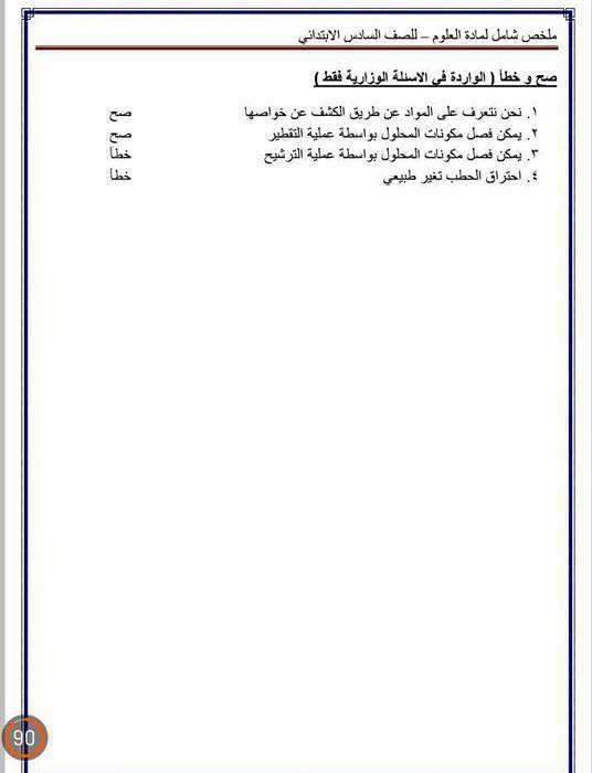 مرشحات وملخص العلوم للسادس الابتدائى 2018 2315