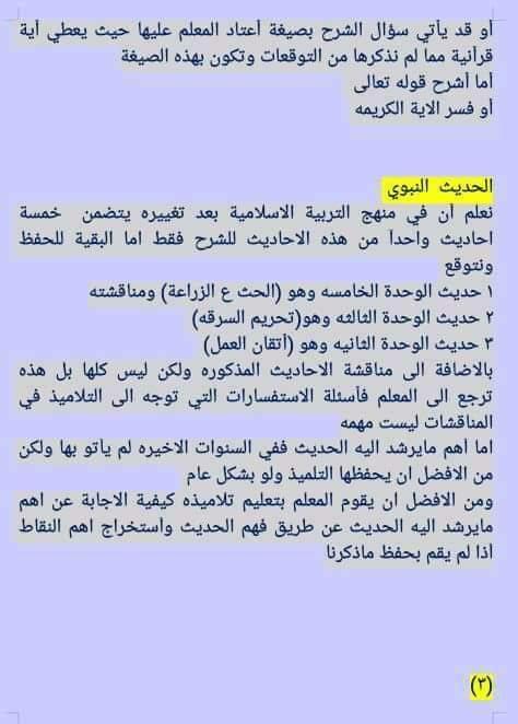 الاسئلة المتوقعة لامتحان التربية الاسلامية للصف السادس الابتدائي الدور الاول 2019 2324
