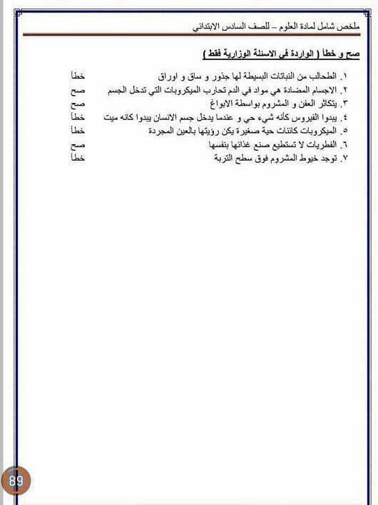 مرشحات وملخص العلوم للسادس الابتدائى 2018 2513