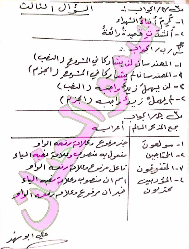 أجوبة الأسئلة الوزارية للغة العربية للسادس الابتدائى 2017 الدور الأول  3311