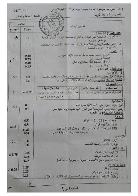 الحلول النموذجية وتصحيح  وسلم التنقيط لمادة اللغة العربية لامتحان شهادة التعليم الابتدائى 2017 _y10