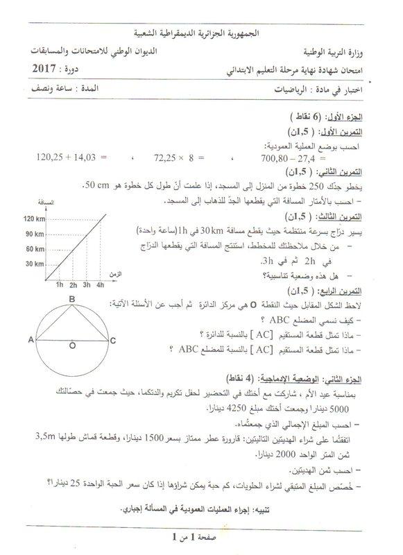 شهادة - أسئلة موضوع امتحان شهادة التعليم الابتدائى 2017 فى الرياضيات Aa10