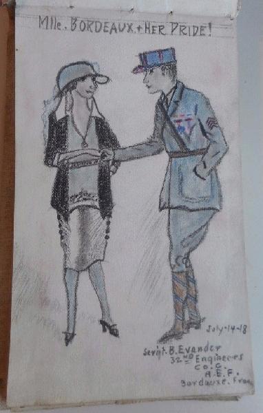 Ecrits & Dessins du Sergent Bernard EVANDER , 32nd Engineers , Company C 1d32